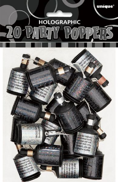 Black Glitz Party Poppers (20)